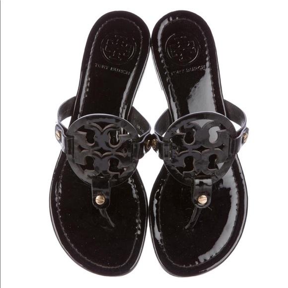 a5e630414163 Tory Burch - Black Miller Patent Logo Sandal. M 5b0f5064077b97bbb7760e2c